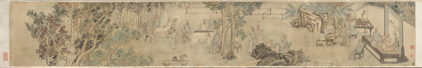 The Ninth Day Literary Gathering at Xing?an, 1743. Creator: Fang Shishu (Chinese, 1693-1751); Ye Fanglin (Chinese, late 1600s-mid-1700s), and.
