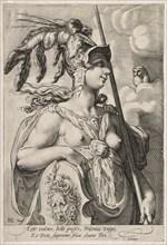 Three Goddesses, c. 1595. Creator: Jan Saenredam (Dutch, 1565-1607).