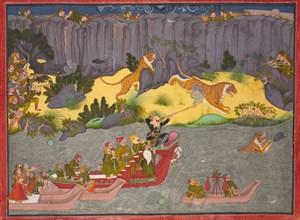 Tiger Hunt of Raja Ram Singh II, c. 1830-1840. Creator: Unknown.