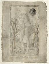 The Beggar (from the Tarocchi, series E: Conditions of Man, #1), before 1467. Creator: Master of the E-Series Tarocchi (Italian, 15th century).