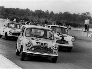 1961 Austin Mini driven by J. Gibson at Silverstone. Creator: Unknown.