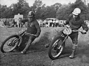 Grass track racing at Bishops Waltham, Coffin and Bungay on Jap motorcycles. Creator: Unknown.