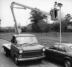 1974 Ford Transit with Liftec platform. Creator: Unknown.