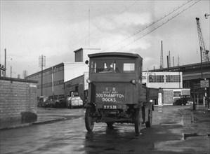1919 Garrett electric truck at Southampton docks. Creator: Unknown.