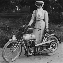 1906 Rex with motorcyclist Muriel Hind. Creator: Unknown.