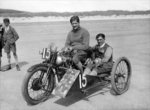 1927 Brough Superior, C.F. Edwards at Pendine sands. Creator: Unknown.