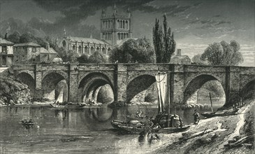 'Hereford Cathedral, and Wye Bridge', c1870.