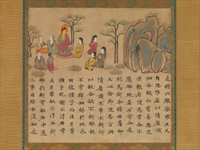 Buddha Preaching, a section from the Illustrated Sutra of Past and Present Karma..., mid-8th cent. Creator: Unknown.