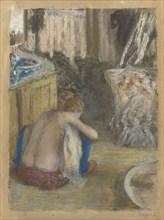 Femme nue, accroupie, vue de dos (Nude Woman Squatting, from behind), c. 1876. Creator: Degas, Edgar (1834-1917).