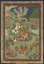 Thangka with Scenes from the Life of the Buddha, Second Half of the 19th cen.. Creator: Tibetan culture.