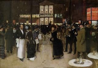 Le boulevard Montmartre, la nuit, devant le théâtre des Variétés, ca 1885. Creator: Béraud, Jean (1849-1936).