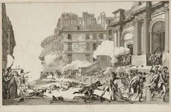13 Vendémiaire. Napoleon Bonaparte's quelling of the Royalist revolt ... in Paris, 1797. Creator: Helman, Isidore Stanislas (1743-1806/9).