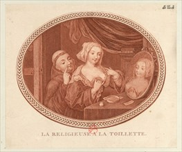 The nun at the toilet, 1770-1780s. Creator: Anonymous.