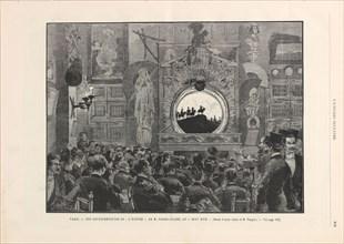 "L'Épopée by M. Caran d'Ache at the shadow theater ""Chat noir"", 1887. Creator: Tinayre, Louis (1861-1942)."