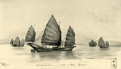 Chinese junks at the entrance to Hong Kong Harbour, 1898. Creator: Christian Wilhelm Allers.