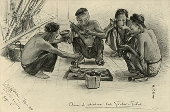 Chinese crew members eating on board the 'Knivsberg', 1898.  Creator: Christian Wilhelm Allers.
