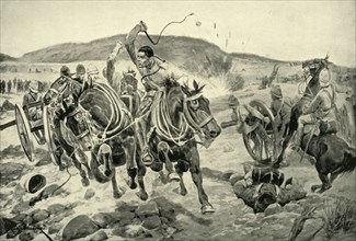 'Before Ladysmith - Horse Artillery Galloping to Take Up a New Position', 1900. Creator: Richard Caton Woodville II.