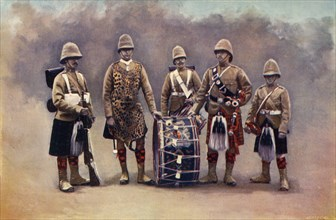 'Private, Drummers, Piper, and Bugler - The Black Watch', 1900. Creator: Knight.