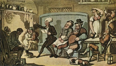"""'Dr. Syntax Reading His """"Tour"""" in the Kitchen of the Dun Cow', c1815, (1943).  Creator: Thomas Rowlandson."""