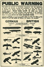 Poster showing types of British and German aircraft, 1915, (1944).  Creator: Unknown.