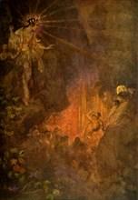 'Uzume awakens the curiosity of Ama-terasu', 1912. Creator: Evelyn Paul.