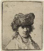 Self-portrait in a fur cap: bust, 1630. Creator: Rembrandt Harmensz van Rijn.
