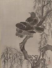 Two Birds on a Branch, ca. 1887. Creator: Kawanabe Kyosai.