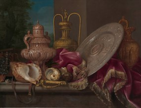 Still Life with Silver and Gold Plate, Shells, and a Sword, fourth quarter 17th century. Creator: Meiffren Conte.