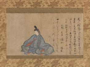 Ariwara Narihira (825-880)... Fujifusa version of Thirty-six Immortal Poets, 1st half 15th cent. Creator: Unknown.