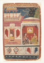 Radha and Her Confidant Sit in an Open Room: Page from a Dispersed Rasikapriya , ca. 1680-90. Creator: Unknown.