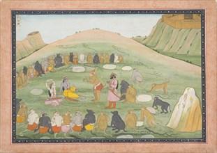 Hanuman Revives Rama and Lakshmana with Medicinal Herbs...,Ramayana series, ca. 1790. Creator: Workshop active in the First generation after Nainsukh (active ca. 1735-78).