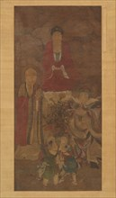 Shakyamuni with luohan, heavenly king, and boys, early 17th century. Creator: Unknown.