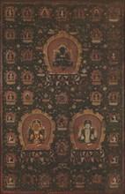 Mandala of Vajradhara, Manjushri and Sadakshari -Lokeshvara, dated 1479. Creator: Unknown.