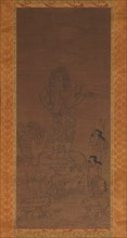 Fudo Myoo with Four Attendants, Outlined in Seed Syllables, 15th century. Creator: Chikai.