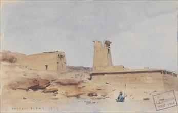 The Temple of Dendur, Showing the Pylon and Terrace, 1874. Creator: Frederick Arthur Bridgman.
