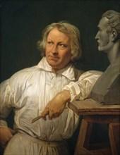 Bertel Thorvaldsen (1768-1844) with the Bust of Horace Vernet, 1833 or later. Creator: Émile Jean-Horace Vernet.