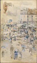 Variations in Violet and Grey?Market Place, Dieppe, 1885. Creator: James Abbott McNeill Whistler.
