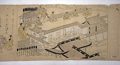 Procession of the Emperor and His Suite, 1626. Creator: Kano School.