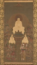 Shakyamuni Triad with the Sixteen Protectors of the Great Wisdom Sutra, late 14th century. Creator: Unknown.