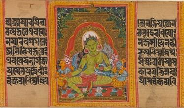 Green Tara...(Perfection of Wisdom) Manuscript, early 12th century. Creator: Unknown.