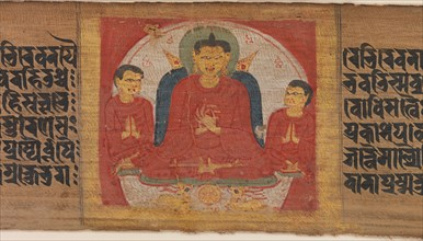 Buddha with His Hands Raised in Dharmacakra Mudra..., ca. 1090. Creator: Unknown.