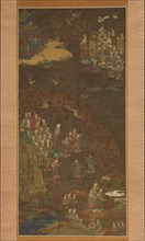 Descent and Return of Amida to Western Paradise with a Believer's Soul (Gosho mandara), c1300. Creator: Unknown.