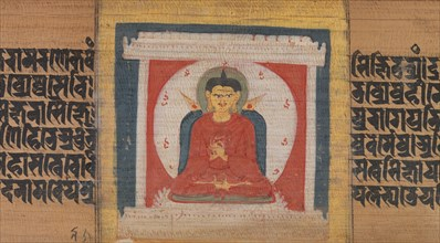 Buddha Enthroned in a Shrine, Leaf from...Pancavimsatisahasrika Prajnaparamita..., ca. 1090. Creator: Unknown.