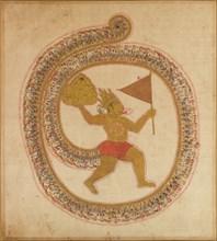 Hanuman Bearing the Mountaintop with Medicinal Herbs, ca. 1800. Creator: Unknown.