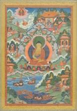 Thanka with Buddha, 19th century. Creator: Unknown.