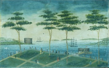 View of the Battery, New York, 1800-1850. Creator: Unknown.