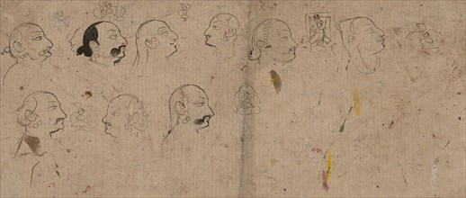 Sketch Page of Facial Studies, likely Maharao Kishor Singh, ca. 1830. Creator: Unknown.