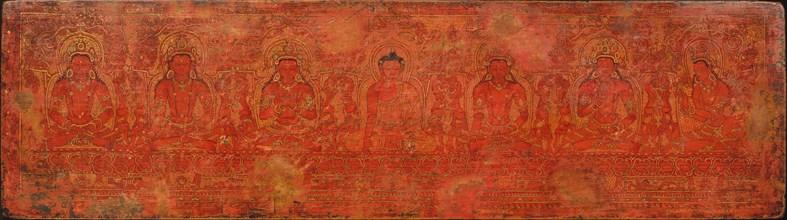 The Buddha Shakyamuni, Five Past Buddhas, and Maitreya, ca. 15th century. Creator: Unknown.