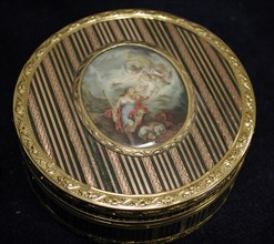 Snuffbox with miniature of sleeping Endymion and Selene, 1772-73. Creator: Unknown.