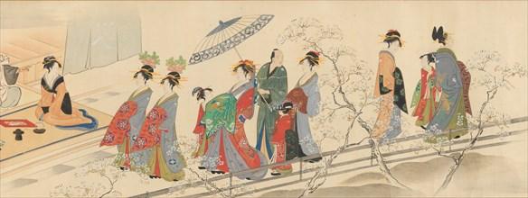Three Gods of Good Fortune Visit the Yoshiwara..., early 19th century. Creator: Hosoda Eishi.